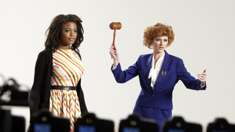"Seymone poses as Michelle Obama and Sophie poses as Margaret Thatcher in a photo shoot on ""America's Next Top Model."""