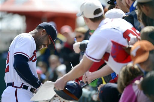 BJ Upton hits 1st HR for Braves in 6-1 win