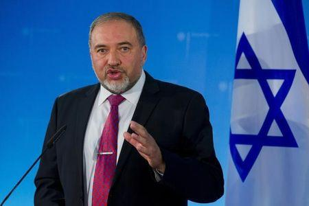 Israeli Foreign Minister Lieberman speaks during news conference after talks with his German counterpart Frank-Walter Steinmeier in Berlin