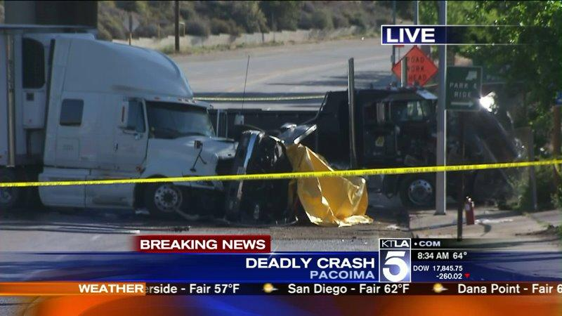 1 Dead, Multiple Hospitalized After Vehicles, Big Rigs Crash in San Fernando Valley