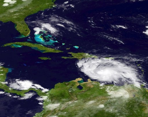 <p>This National Oceanic and Atmospheric Administration (NOAA) satellite image shows Tropical Storm Ernesto gaining strength in the Atlantic Ocean.</p>