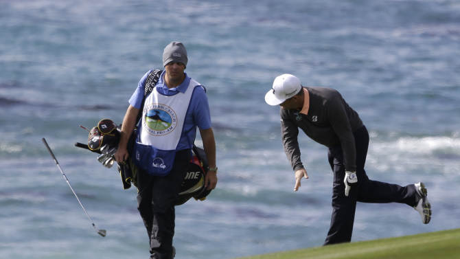 Matt Every slams his club to the ground after hitting from the ninth fairway of the Pebble Beach Golf Links during the first round of the AT&T Pebble Beach Pro-Am golf tournament  Thursday, Feb. 7, 2013, in Pebble Beach, Calif. (AP Photo/Eric Risberg)