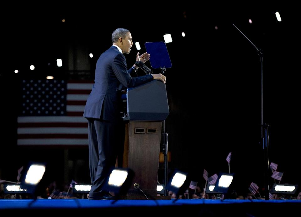 President Barack Obama speaks at the election night party Wednesday, Nov. 7, 2012, in Chicago. Obama defeated Republican challenger former Massachusetts Gov. Mitt Romney. (AP Photo/Carolyn Kaster)
