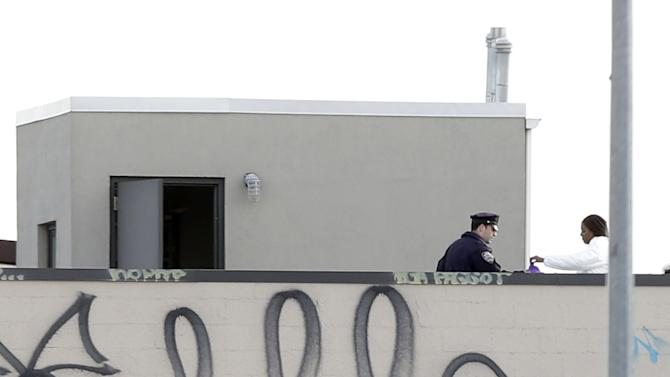Police officers and crime scene personnel work on the roof of a building in the Brooklyn section of New York, Monday, Nov. 11, 2013. A man who had apparently been kicked out of a band fatally shot three of his bandmates and wounded a fourth early Monday in a Brooklyn row house before killing himself, police said. (AP Photo/Seth Wenig)
