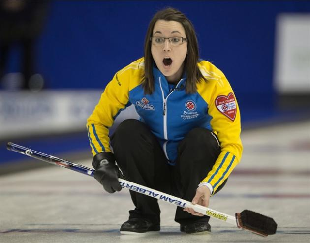 Alberta skip Val Sweeting calls a shot during her semi-final match against Manitoba at the Scotties Tournament of Hearts curling action Saturday, February 8, 2014 in Montreal.THE CANADIAN PRESS/Ryan R