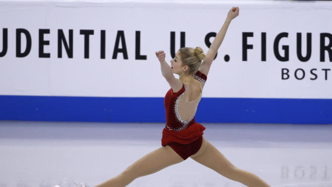 Gracie Gold skates during the women's short program at the U.S. Figure Skating Championships in Boston, Thursday, Jan. 9, 2014. (AP Photo/Elise Amendola)