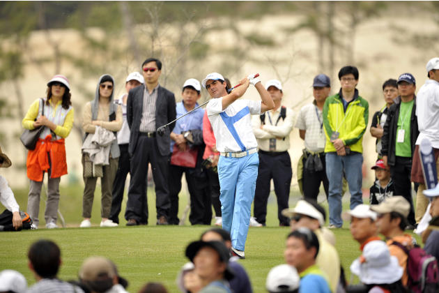 This handout photo provided by PMG shows Felipe Aguilar of Chile at the Blackstone Golf Club during the final day of the Ballantine's Championship in Icheon on 29 April, 2012.  The 3 Million USD event