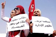 "<p>Women demand the ""cleansing"" of Tunisia at the Kasbah, the site of government headquarters, in Tunis on Friday. Political tensions are mounting in Tunisia, with the opposition adopting terms like ""state party"" and ""theocracy"" to attack the ruling Islamists, whose supporters have denounced their critics as remnants of the Ben Ali era.</p>"