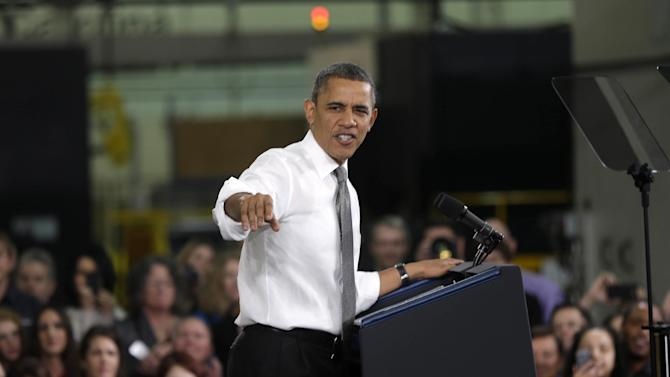 President Barack Obama speaks at Linamar Corporation in Arden, N.C., the day after delivering his State of the Union address, Wednesday, Feb. 13, 2013. (AP Photo/Charles Dharapak)