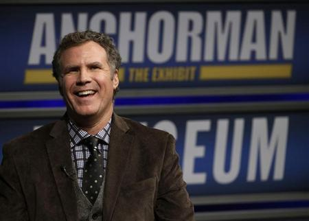 "Actor Will Ferrell speaks while being interviewed by Washington Post film critic Ann Hornaday at the Newseum during an event for ""Anchorman2: The Legend Continues"" in Washington"