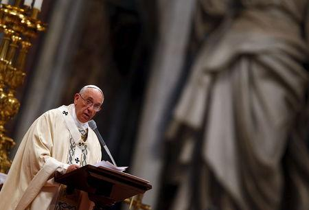 Pope Francis speaks during a mass on 100th anniversary of Armenian mass killings in St. Peter's Basilica at the Vatican