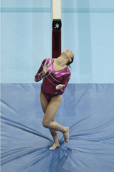 Alicia Sacramone of the U.S. jubilates after her performance in the beam final at the World Championships Gymnastics in Rotterdam, Netherlands, Sunday Oct. 24, 2010. (AP Photo/Matt Dunham)