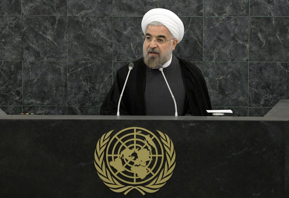 Iranian President Hassan Rouhani addresses a high-level meeting on Nuclear Disarmament during the 68th United Nations General Assembly on Thursday Sept. 26, 2013 at U.N. headquarters. (AP Photo/Mike Segar,Pool)