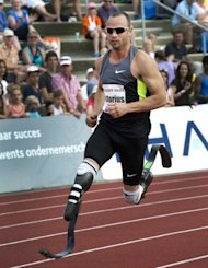 South African athlete Oscar Pistorius runs the 400 metres at the Fanny Blankers Koen Games in Hengelo in May 2012. Pistorius will become the first double amputee to compete at the Olympics after being included Wednesday in the South African 4x400-metre relay team for 2012 London Games, an official said