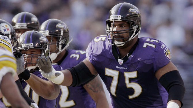 FILE - In this Nov. 26, 2006 file photo, Baltimore Ravens offensive lineman Jonathan Ogden blocks against the Pittsburgh Steelers during the first half of an NFL football game in Baltimore. Ogden was selected to the Pro Football Hall of Fame on Saturday, Feb. 2, 2013. (AP Photo/Chris Gardner, File)