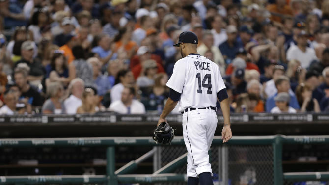 Detroit Tigers pitcher David Price leaves the field after being pulled in the third inning of a baseball game against the New York Yankees in Detroit, Wednesday, Aug. 27, 2014. Price allowed eight earned runs in two innings. (AP Photo/Paul Sancya)