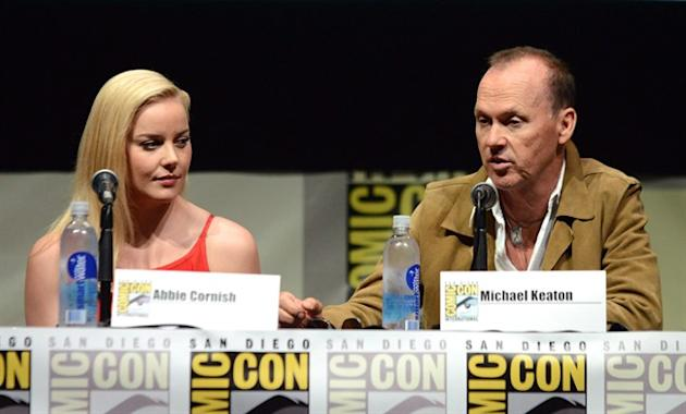 "Abbie Cornish, left, and Michael Keaton attend the ""RoboCop"" panel on Day 3 of Comic-Con International on Friday, July 19, 2103 in San Diego. Those planning on heading to the movie theatre n"