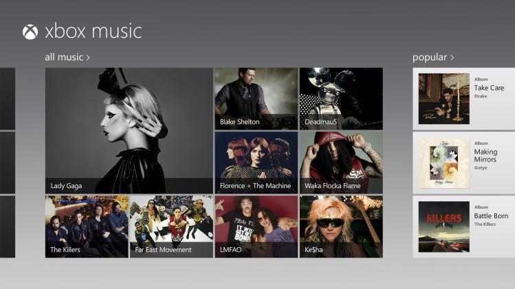 FILE - This file image provided by Microsoft Corp. shows a screen image of their new service called, Xbox Music. Microsoft is making its Xbox Music streaming service available for free on the Web _ even to those who don't use Windows 8. The expansion beyond Windows 8 devices and Xbox game consoles starting Monday, Sept. 9, 2013, is intended to bring new customers into the software giant's ecosystem of devices and services. (AP Photo/Microsoft Corp., File)