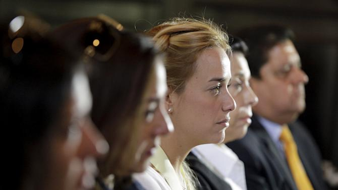 Lilian Tintori, wife of jailed opposition leader Leopoldo Lopez, attends a meeting at the National Assembly to commemorate the students killed during the protests in 2014, in Caracas