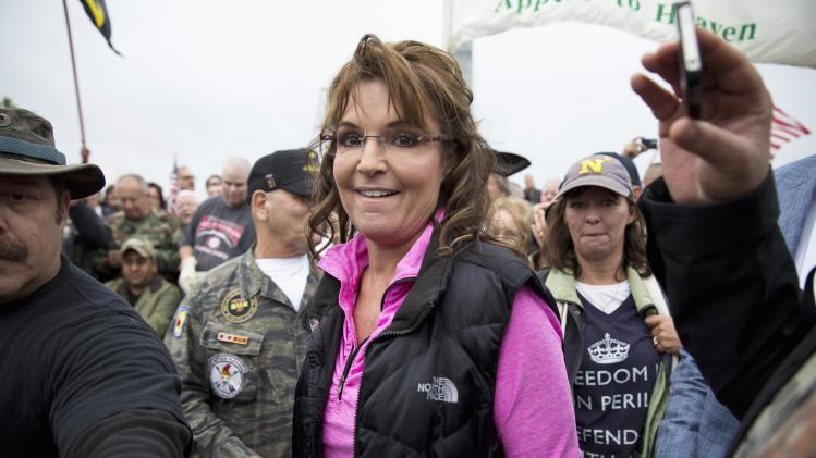 Former Alaska Governor Palin arrives at Million Vet March on Memorials at U.S. National World War II Memorial in Washington