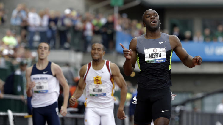 LaShawn Merritt reacts after the men's 400m finals at the U.S. Olympic Track and Field Trials Sunday, June 24, 2012, in Eugene, Ore. (AP Photo/Eric Gay)