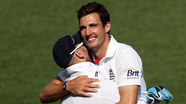 England's Steven Finn celebrates his six-wicket haul against New Zealand in Auckland (AFP)