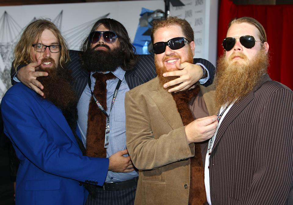 The group The Beards arrive for the Australian music industry Aria Awards in Sydney, Thursday, Nov. 29, 2012. (AP Photo/Rick Rycroft)