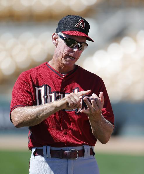 Arizona Diamondbacks bench coach Alan Trammell talks before an exhibition baseball game against the Chicago White Sox in Glendale, Ariz., Saturday, March 8, 2014. (AP Photo/Paul Sancya)