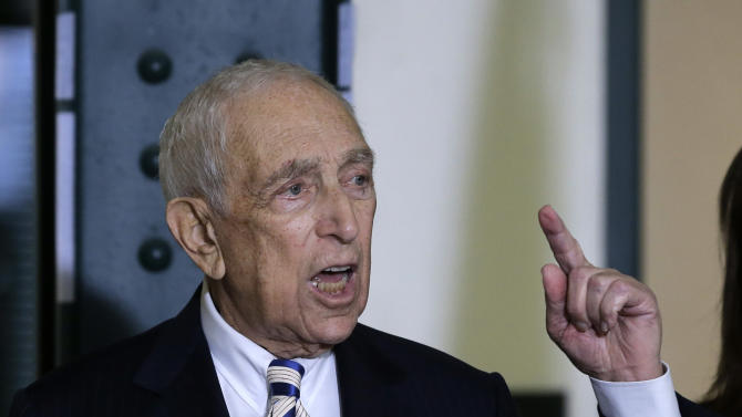 Sen. Frank Lautenberg, the oldest member of the U.S. Senate, tells a gathering Friday, Feb. 15, 2013, in his hometown of Paterson, N.J., that he plans to retire at the end of his current term. The 89-year-old says he'll fight for gun control, against global warming and press to ensure working families are not left behind.   (AP Photo/Mel Evans)