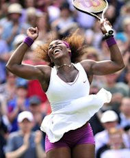 US player Serena Williams celebrates her women&#39;s singles semi-final victory over Belarus&#39;s Victoria Azarenka on day 10 of the 2012 Wimbledon Championships tennis tournament at the All England Tennis Club in Wimbledon, southwest London. Williams and Agnieszka Radwanksa will meet in Saturday&#39;s Wimbledon final