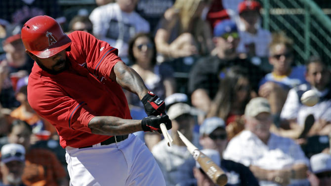 Angels' split-squad routs Garza, Brewers