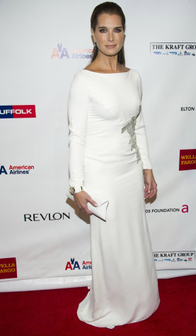 Brooke Shields attends Elton John's AIDS Foundation's 11th annual Enduring Vision benefit on Monday, Oct. 15, 2012 in New York. (Photo by Charles Sykes/Invision/AP)