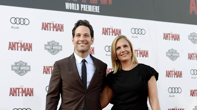 "Cast member Paul Rudd and wife Julie Yaeger pose during premiere of Marvel's ""Ant-Man"" in Hollywood"