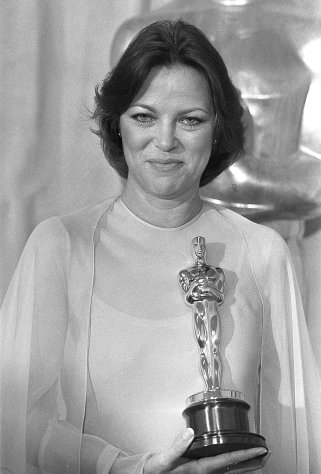 File - In this March 29, 1976 file photo, actress Louise Fletcher holds the Oscar for &quot;Best Actress&quot; which she won for her performance in &quot;One Flew Over The Cuckoo&#39;s Nest&quot; at the Academy Awards in Los Angeles. Fletcher says she&#39;s no longer able to watch the movie One Flew Over the Cuckoo&#39;s Nest because the character she won an Oscar for, Nurse Ratched, is so cruel. Fletcher will be in Salem, Ore., on Saturday, Oct. 6, 2012 for the opening of a museum of mental health at the rebuilt Oregon State Hospital, where the 1975 movie was filmed. (AP Photo/File)