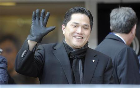 New Inter Milan president Thohir, of Indonesia, greets supporters before the Italian Serie A soccer match against Sampdoria at San Siro stadium in Milan