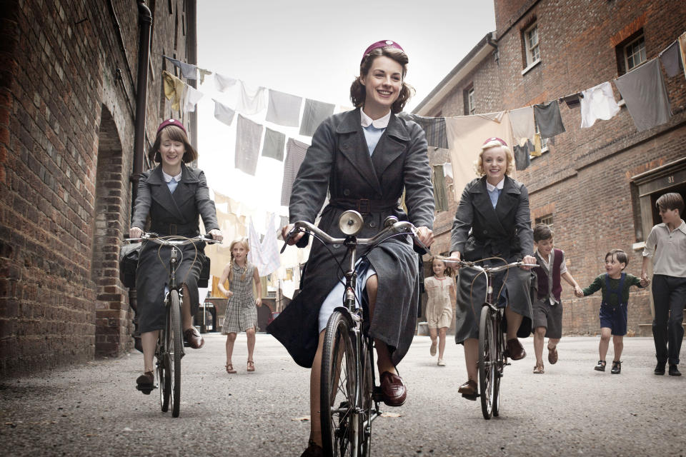 "This image provided by Neal Street Productions shows, from left, Bryony Hannah, Jessica Raine and Helen George in ""Call The Midwife,"" a British drama about midwifery in the 1950s that opens PBS' fall schedule on Sept. 30. (AP Photo/Neal Street Productions, Laurence Cendrowicz) MANDATORY CREDIT"