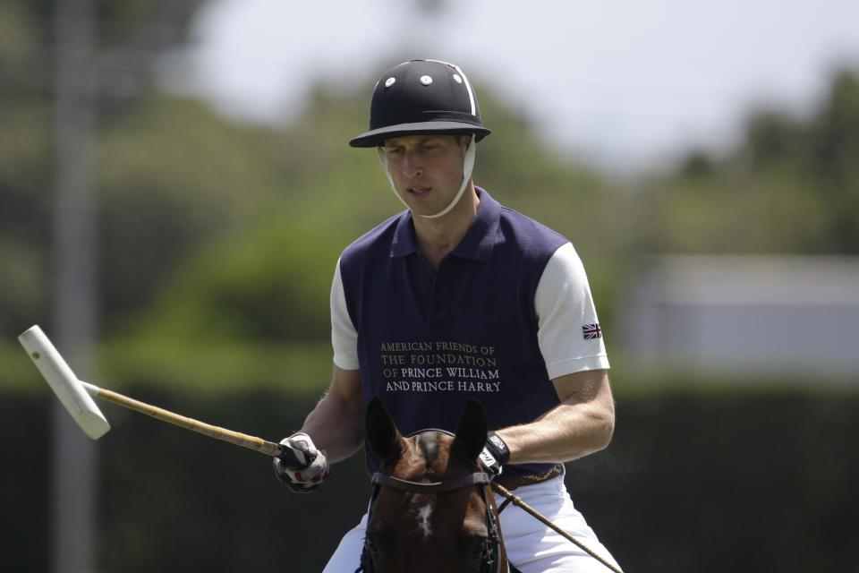 Prince William, Duke of Cambridge, warms up prior to the charity polo match at The Santa Barbara Polo & Racquet club on Saturday, July 9, 2011 in Carpinteria Calif.  The event is held in support of The American Friends of The Foundation of Prince William and Prince Harry. (AP Photo/Jae Hong)
