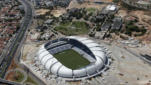An aerial view shows the Arena das Dunas stadium, which will host matches for the 2014 soccer World Cup, in Natal January 22, 2014 (Reuters)