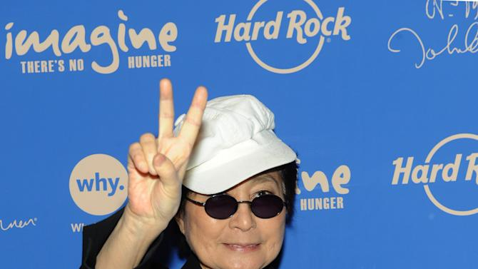 IMAGE DISTRIBUTED FOR HARD ROCK - Yoko Ono Lennon appears at Hard Rock Cafe New York, Monday, Nov. 19, 2012, to launch Hard Rock's fifth annual IMAGINE THERE'S NO HUNGER campaign.  Proceeds from the campaign benefit WhyHunger and its grassroots partners combating childhood hunger and poverty worldwide.    (Diane Bondareff/Invision for Hard Rock International/AP Images)