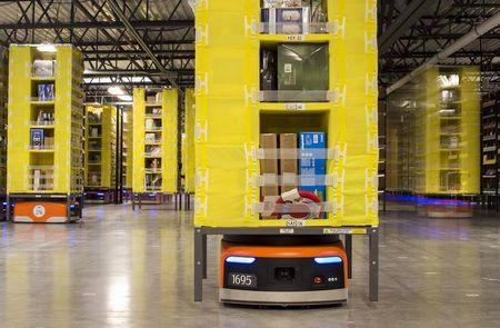 Kiva robots move inventory at an Amazon fulfilment center in Tracy, California