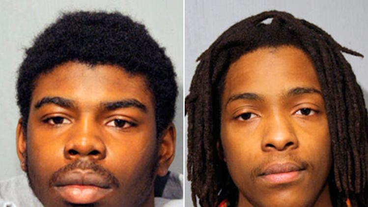 This combo made from undated booking photos provided by the Chicago Police Department shows Michael Ward, 18, left, and Kenneth Williams, 20, both of Chicago. The men are charged with murder in the death of 15-year-old Hadiya Pendleton, of Chicago. Pendleton was shot to death Jan. 29 in a park about a mile from President Barack Obama's home on Chicago's South Side. Ward and Williams were ordered held without bail at a Tuesday, Feb. 12, 2013 hearing where prosecutors told the judge in chilling detail what happened the day Pendleton died. (AP Photo/Chicago Police Department)