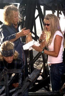 Emile Hirsch and Heath Ledger with director Catherine Hardwicke on the set of Columbia Pictures' Lords of Dogtown