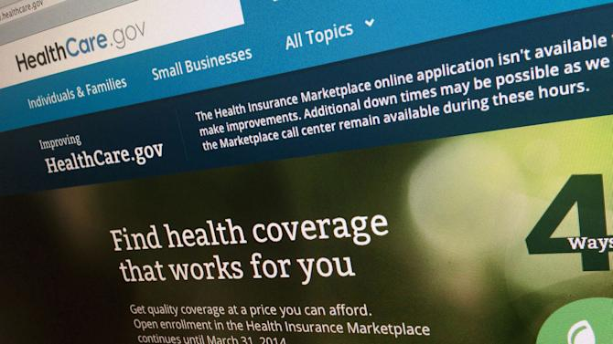 This photo taken Nov. 29, 2013 shows a part of the HealthCare.gov website, photographed in Washington. Even though the government's health care website may be fixed, a new poll finds that President Barack Obama's insurance markets haven't impressed most consumers. Although negative perceptions of the health care rollout have eased, a new Associated Press-GfK poll finds that two-thirds of Americans say things still aren't going well. (AP Photo/Jon Elswick)