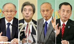 Combination picture shows expected candidates of Tokyo gubernatorial election speaking during a news conference in Tokyo, a day before the election is declared, in this photo taken by Kyodo