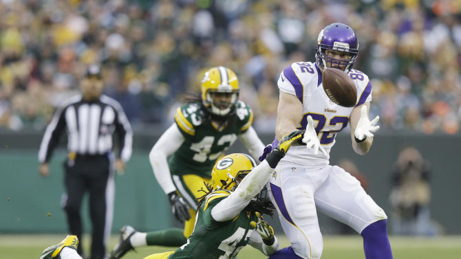 Minnesota Vikings tight end Kyle Rudolph (82) catches a pass with Green Bay Packers free safety Morgan Burnett (42) defending during the second half of an NFL football game Sunday, Dec. 2, 2012, in Green Bay, Wis. The Packers won 23-14. (AP Photo/Morry Gash)