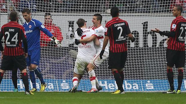 Stuttgart's defender Georg Niedermeier celebrates with a team mate after scoring (AFP)
