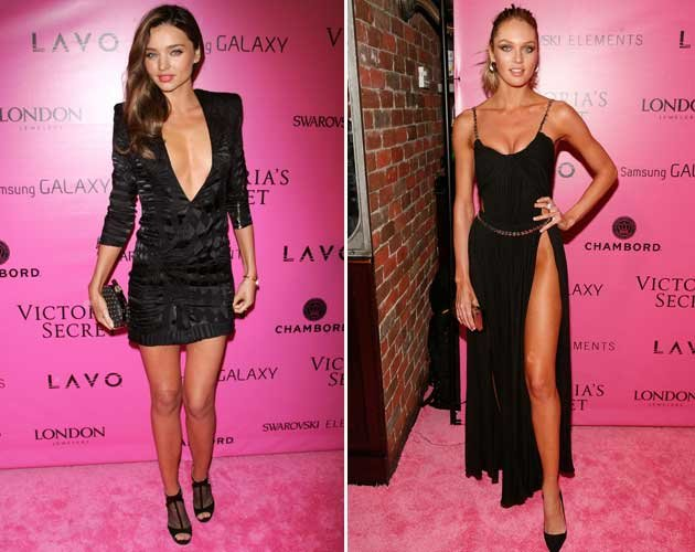 Zwei Ladys, zwei Mega-Ausschnitte: Miranda Kerr vs. Candice Swanepoel (Bild: Getty Images)