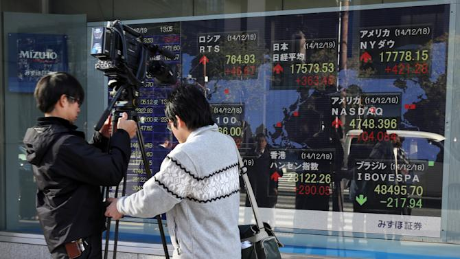 TV crew prepares to film an electronic stock board of a securities firm in Tokyo, Friday, Dec. 19, 2014. Asian stocks rallied for a second day Friday after the Federal Reserve's reassurance it was in no hurry to hike interest rates. But shares of Sony Corp. dropped as a hacking scandal rocked its American movies unit. (AP Photo/Eugene Hoshiko)