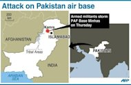 Map locating Kamra in Pakistan where militants armed with guns and rocket launchers stormed a key air force base before dawn on Thursday