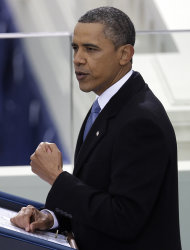 &lt;p&gt;               President Barack Obama delivers his Inaugural address at his ceremonial swearing-in at the U.S. Capitol during the 57th Presidential Inauguration in Washington, Monday, Jan. 21, 2013. (AP Photo/Evan Vucci)